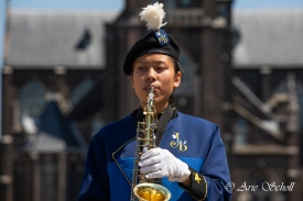 Jong Euroband tijdens de jubileumtaptoe in Schiedam